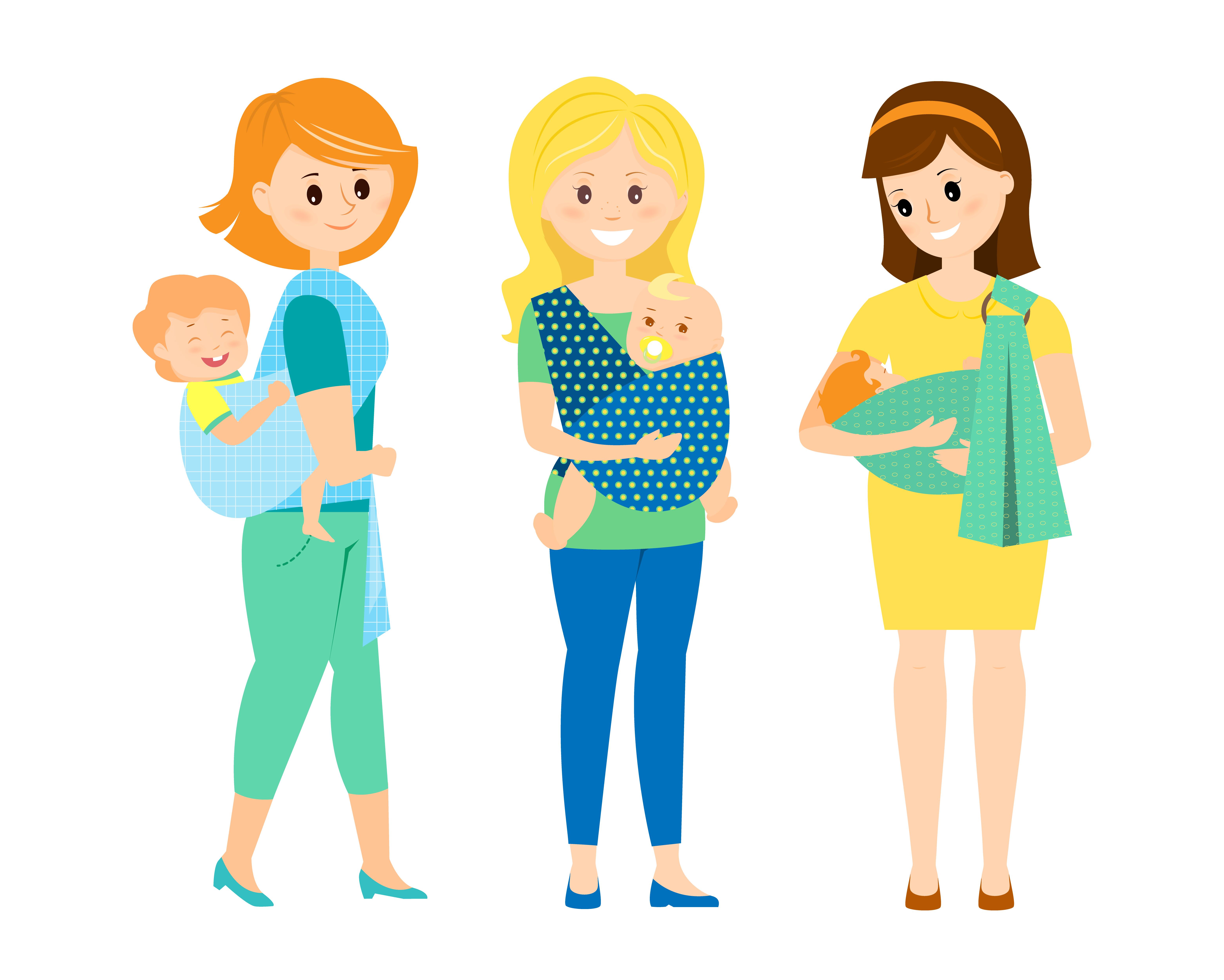 madres porteando, vector
