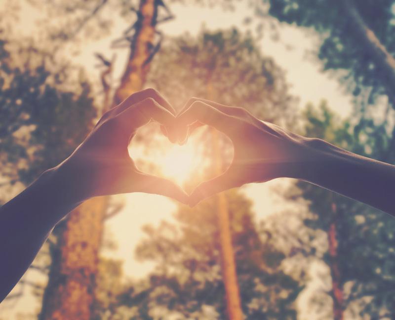 Manos en forma de corazon