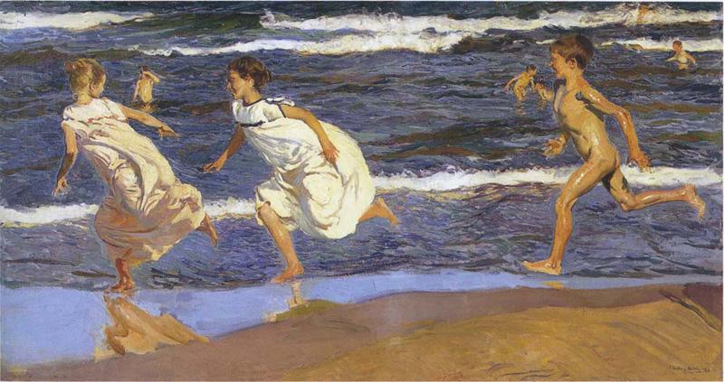 niños en la playa Sorolla