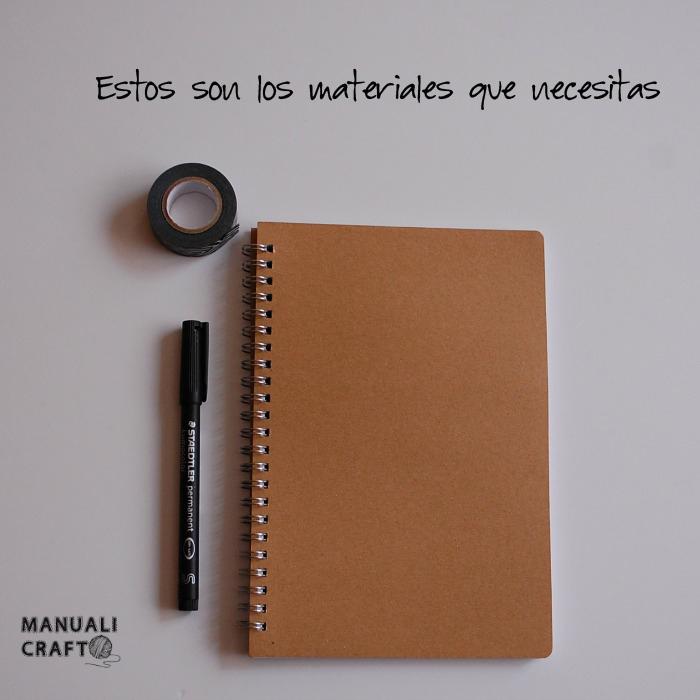 Materiales cuaderno washitape y etnico