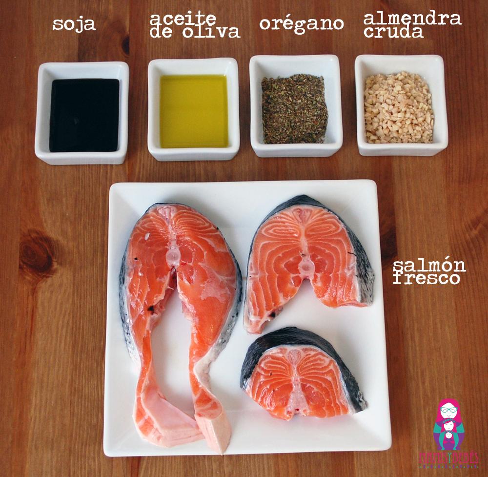 ingredientes salmón costra almendras