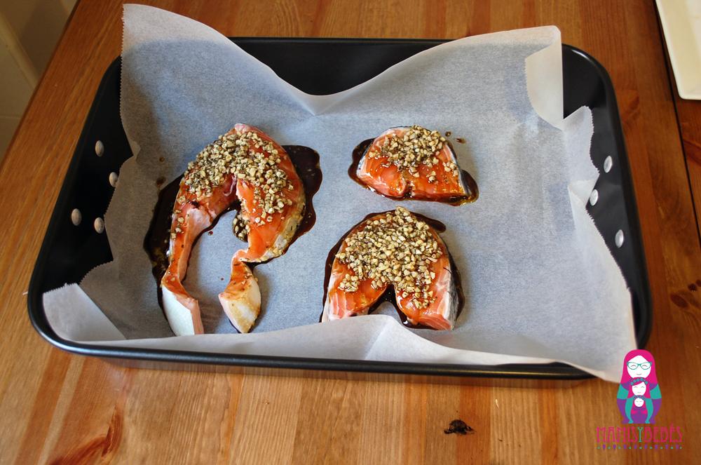 Salmon con costra preparado