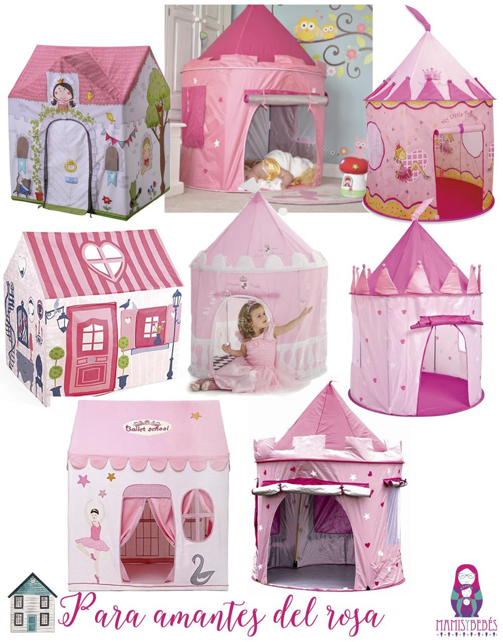 casitas de tela rosas