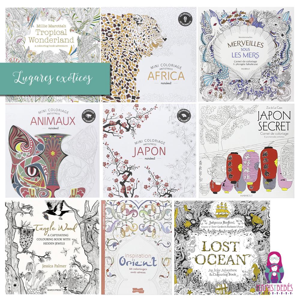 cuadernos colorear adultos exoticos