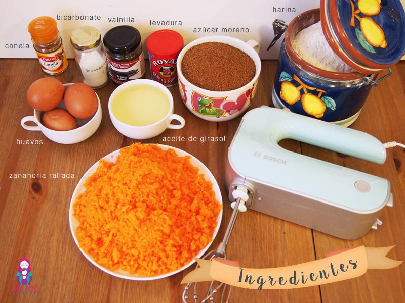 Tarta de zanahoria ingredientes