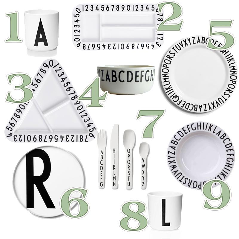 Vajillas infantiles, design letters