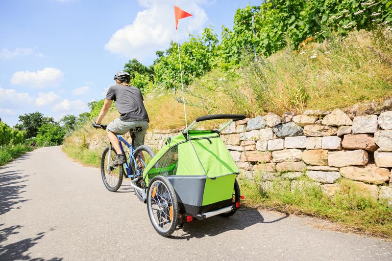 Bicicleta con remolque trasero