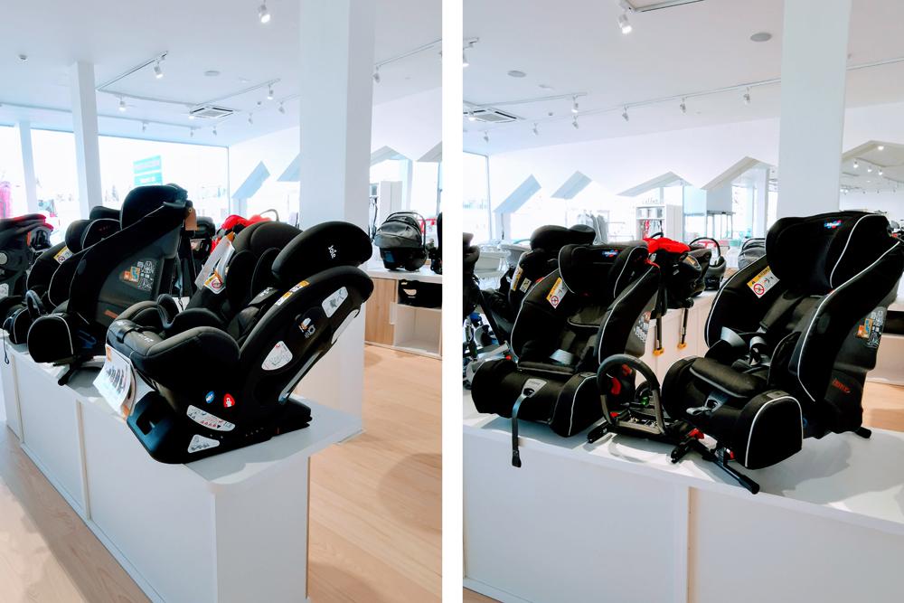 Exposición de sillas a contramarcha en Nenena, tienda de puericultura en Zaragoza